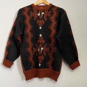 Vintage Pierre Cardin Terracotta & Black Sweater
